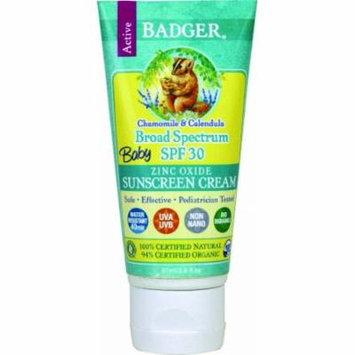 3 Pack Badger Organic Baby Sunscreen Cream SPF 30 Chamomile and Calendula Each