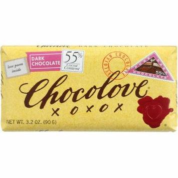 Chocolove Premium Chocolate Bars, Dark (55%) Chocolate, 3.2-Oz Bars (Pack Of 12)