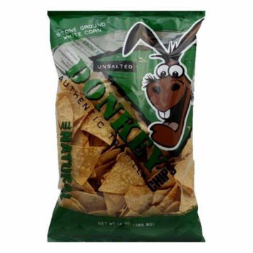 Donkey Chip Unsalted Tortilla Chips, 14 OZ (Pack of 12)