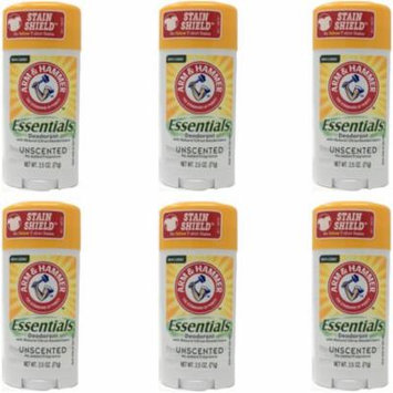 6 Pack Arm & Hammer Essentials Deodorant Solid, Unscented 2.5 Ounce Each