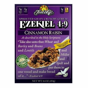 Food For Life Organic Ezekiel 4:9 Sprouted Whole Grain Cereal, Cinnamon Raisin , 16 Oz (Pack of 6)