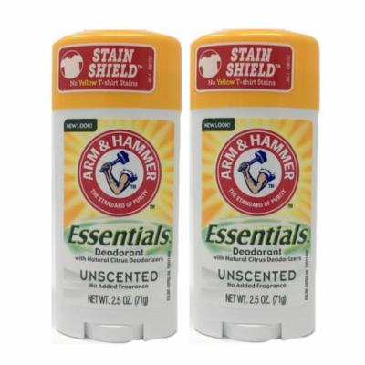 2 Pack Arm & Hammer Essentials Deodorant Solid, Unscented 2.5 Ounce Each