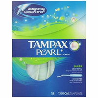 2 Pk Tampax Pearl Plastic Super Absorbency Unscented Tampons Feminine Care 18 Ea