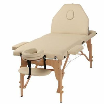 The Best Massage Table 3 Fold Cream Reiki Portable Massage Table - PU Leather w/ Free Acessories