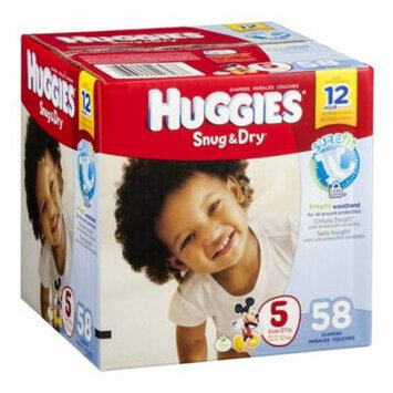 Huggies Snug & Dry Baby Diapers, Size 5 (Over 27 lbs) - Case of 58