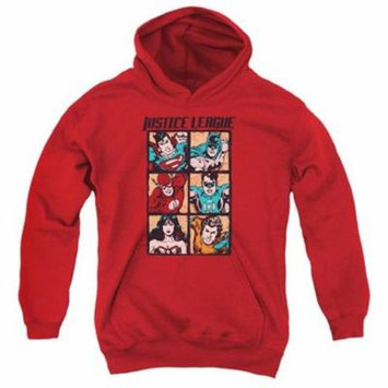 Trevco Jla-Rough Panels Youth Pull-Over Hoodie, Red - Small