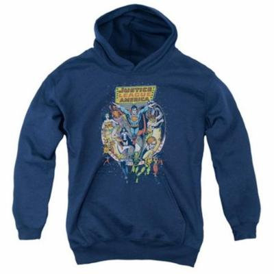 Trevco Jla-Star Group Youth Pull-Over Hoodie, Navy - Small