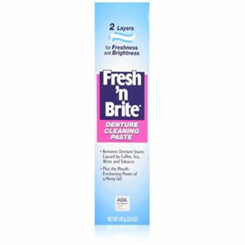 4 Pack Fresh'n Brite Dual-Layer Denture Toothpaste, 3.8 Oz Each