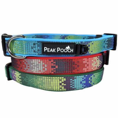 Soft Adjustable Zen Pattern Neoprene Dog Collar, Extra Padded for Comfort - Red Zen Design, Medium