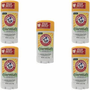 5 Pack Arm & Hammer Essentials Deodorant Solid, Unscented 2.5 Ounce Each