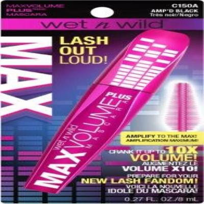 Wet n Wild Lash Out Loud MaxVolume Plus Mascara Amp'd Black 0.27 Oz