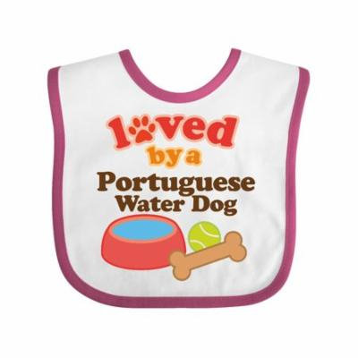 Portuguese Water Dog Loved By A (Dog Breed) Baby Bib White/Raspberry One Size