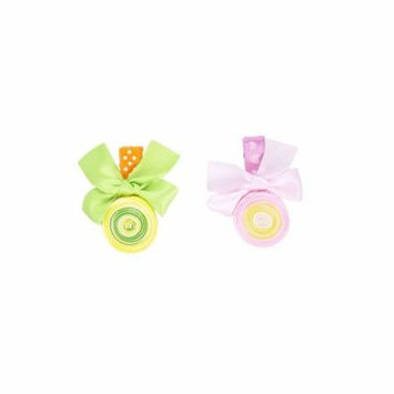 Lot of 2 Child Size Spun Ribbon and Bow Candy Design Hair Clip, Green/Pink
