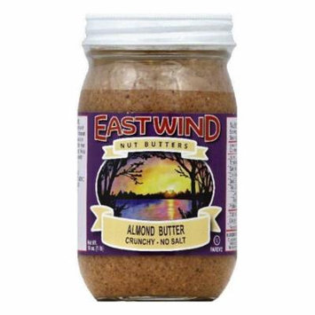 East Wind No Salt Crunchy Almond Butter, 16 OZ (Pack of 6)