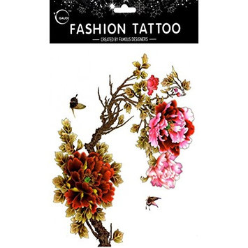 Grashine long last and look like real temporary tattoos Large design pink and red peony with beautiful butterflies temp tattoo stickers women for chest,belly,back,leg,etc.