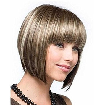 Balevee Fashion Cut Short Wigs Synthetic Hair Layered Blonde with Bangs For Women