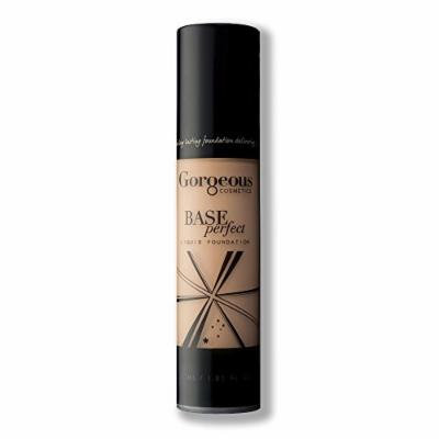 Gorgeous Cosmetics Base Perfect Liquid Foundation, Oil Free, Silicon Based With Vitamin A and E, High Pigment and Buildable for Medium Coverage, Airless Pump Bottle, 1 Fluid Ounce/30ml, Shade 3N