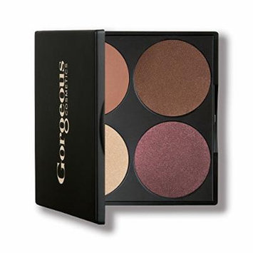 Gorgeous Cosmetics All-In-One Eyeshadow Palette, Hazel Eyes, 4 shades, Compact with Mirror