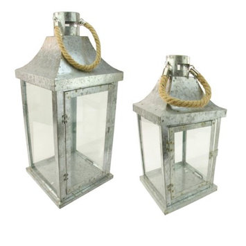 Northlight Set of 2 Industrial Flecked Metal and Glass Paneled Nesting Pillar Candle Lanterns 14