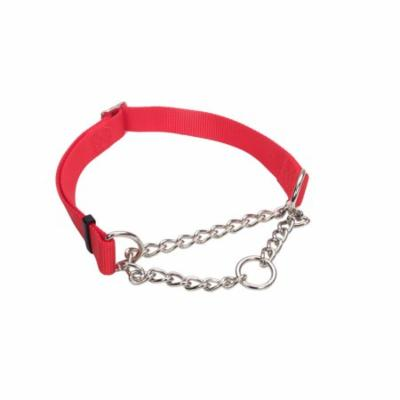 Coastal Nylon and Chain Check-Choke Martingale Collar 1 inch x 17-24inch RED