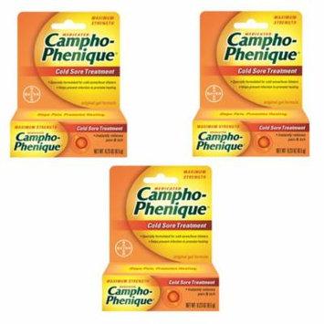 3 Pack Campho-Phenique Maximum Strength Cold Sore Treatment Gel - 0.23 oz Each