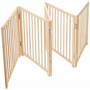 Four Paws 5 Panel Free Standing Walk Over Wooden Dog Gate, 48-110W by 17 H