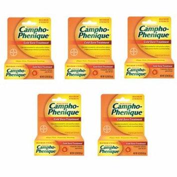 5 Pack Campho-Phenique Maximum Strength Cold Sore Treatment Gel - 0.23 oz Each