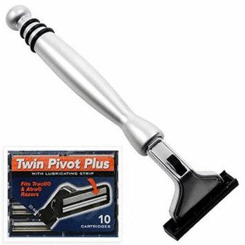 All Metal Heavyweight Chrome ATRA Compatible Twin Blade Razor & 10 Personna Pivot Plus Blades