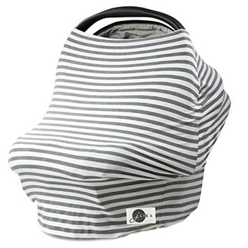 JLIKA Baby Car Seat Covers Stretchy Infant Canopy and Nursing cover for breastfeeding newborns infants babies girls boys best shower gift maternity apron infinity scarf carseats! (Gray/White Stripe)