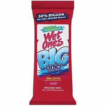 2 Pack - Wet Ones Big Ones Fresh Scent Antibacterial Wipes 28 Each