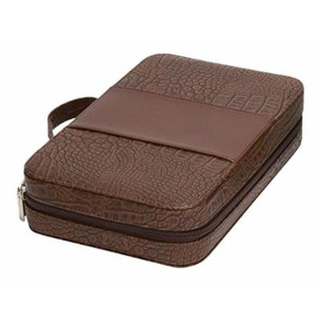 GOODHOPE Bags Deluxe Croc Leather Cosmetic Case, Brown