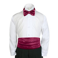 Unotux 23 Color 2pc Boys Satin Cummerbund and Bow Tie Sets from Baby to Teen (5-7, Burgundy)