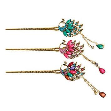 cici store 1PC Classical Retro Women Elegant Pin Colorful Hairpin Rhinestone Hair Stick (Random Color)