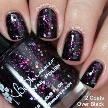 Showgirl Black and Fuchsia Pink Glitter Nail Polish - 0.5 Oz Full Sized Bottle