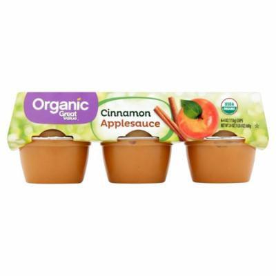 Great Value Organic Applesauce Cups, Cinnamon, 6 Count