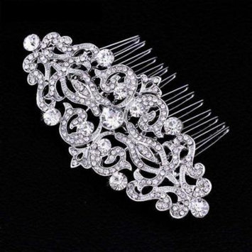 Vintage Style Crystal and Filigree Hair Comb Silver