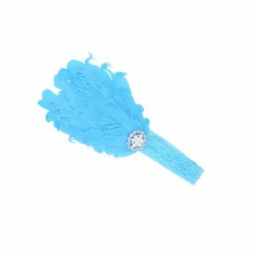 Baby Girl Cute Beaded Blue Feather Elastic Lace Headband