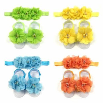 Wrapables® Shabby Chic Flower Headband + Barefoot Sandals (Set of 4), Spring
