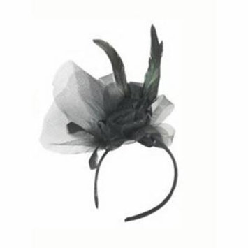 Laced Feather Headband With Black Rose