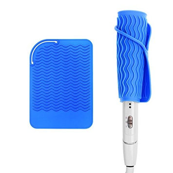 Kloud City Heat-resistant Silicone Mat for Curling Hair Drier Hair Straightener Flat Iron Travel Heat Proof Mat for Hot Hair Care Tool Blue