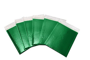 Packagingsuppliesbymail Glamour Bubble Mailers-13.75' x 11'-Green-300 Pieces = 6 Cases
