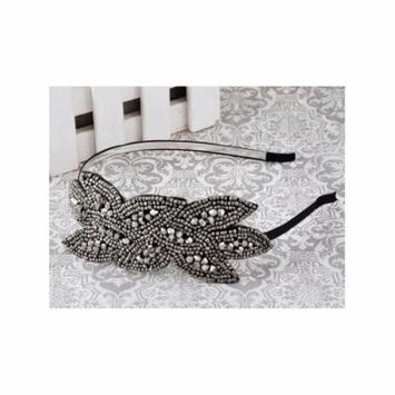 Black Gunmetal Grey Beaded Floral Leaf Bunch Retro Flapper Fashion Hair Headband