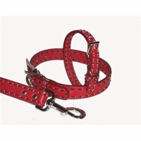 A Pets World 03011304-20 Leather Dog Collar- Red-Chocolate Saddle Stitch