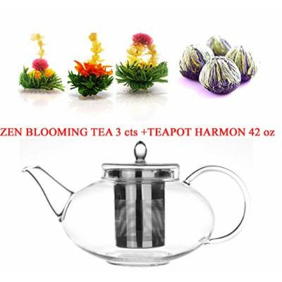 Tea Beyond Glass Teapot with Stainless Steel Strainer and Tea Gift Set 42 oz Zen Flowering Tea 3cts White Tea Non GMO No Flavors added
