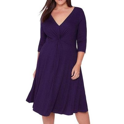 Women Plus Size Dress, Realdo V-Neck 3/4 Sleeve Evening Party Dress Purple, US 20