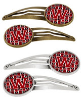 Letter W Football Red, Black and White Set of 4 Barrettes Hair Clips CJ1073-WHCS4