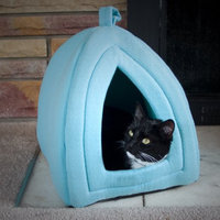 Trademark Global Llc Cozy Kitty Tent Igloo Plush Cat Bed - Kitten, Puppy Dog Bed - Blue