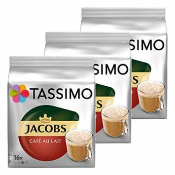 Tassimo Jacobs Café au Lait 3-Pack, Coffee Capsules, Milk Coffee, Roasted Ground Coffee, 48 T-Discs/Servings