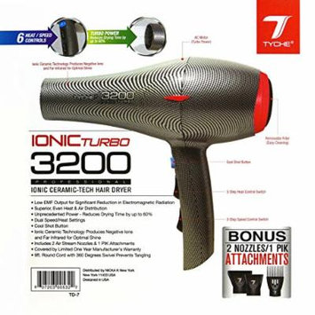 Tyche Turbo 3200 Professional Ionic Ceramic Tech Hair Dryer (1 Year Warranty) Dries Hair Fast, Negative Ions, Infrared, Hair Shine, Electromagnetic, Radiation, Heat & Air Distribution, Superor Power,