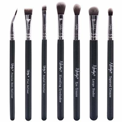Nanshy Eye Brush Set including 7 Prestige Makeup Brushes for Eyes, Brows and Lips Onyx Black